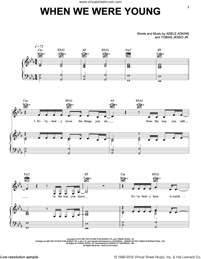 When We Were Young sheet music for voice, piano or guitar plus backing track by Adele, Adele Adkins and Tobias Jesso Jr., intermediate skill level
