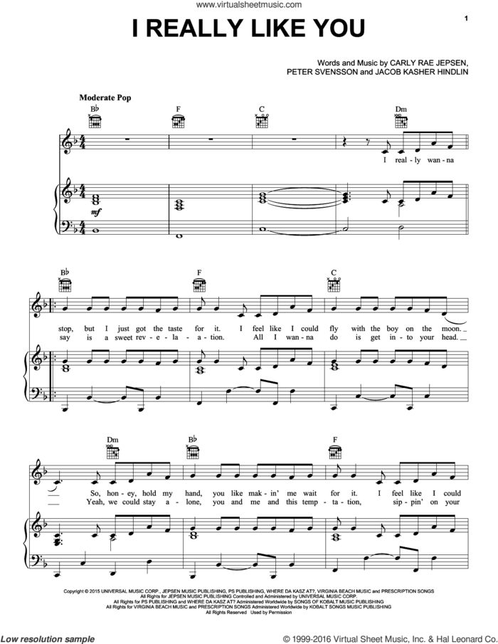 I Really Like You sheet music for voice, piano or guitar plus backing track by Carly Rae Jepsen, Jacob Kasher Hindlin and Peter Svensson, intermediate skill level