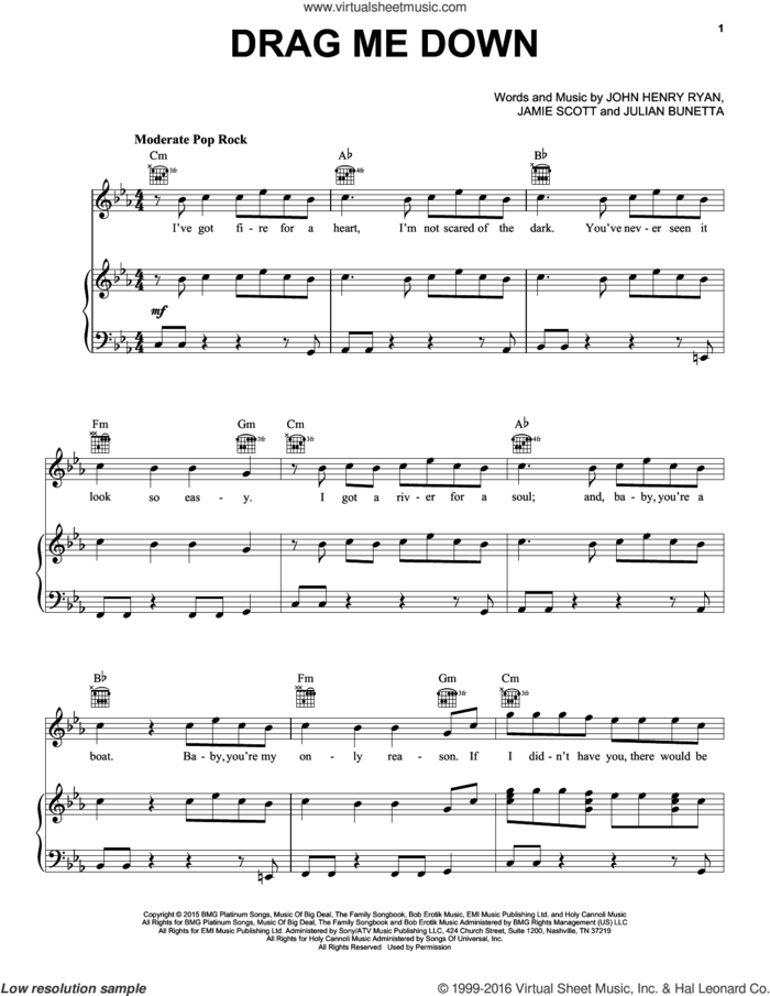 Drag Me Down sheet music for voice, piano or guitar plus backing track by One Direction, Jamie Scott, John Henry Ryan and Julian Bunetta, intermediate skill level