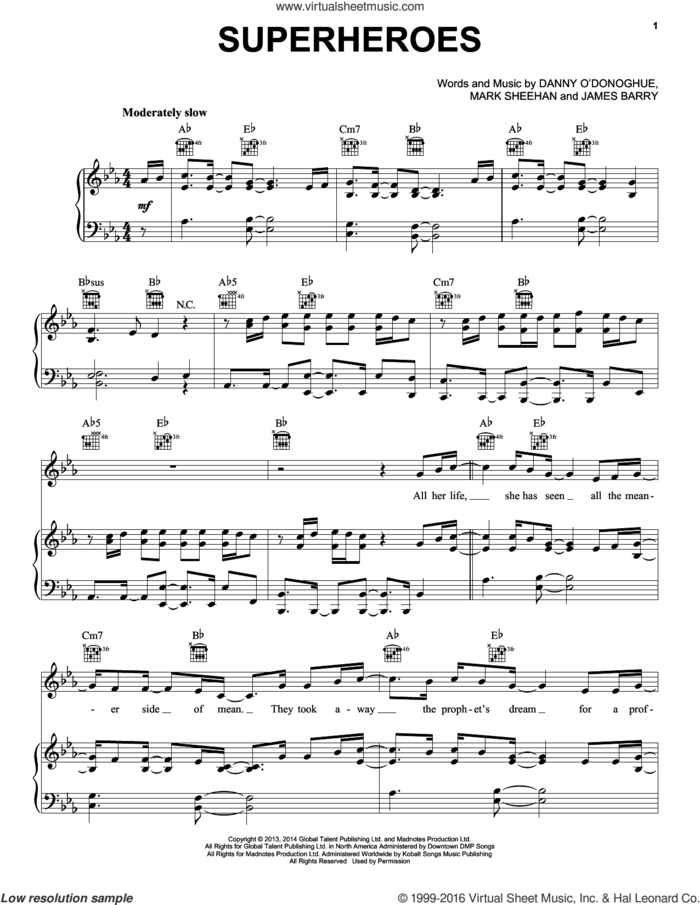 Superheroes sheet music for voice, piano or guitar plus backing track by The Script, James Barry and Mark Sheehan, intermediate skill level