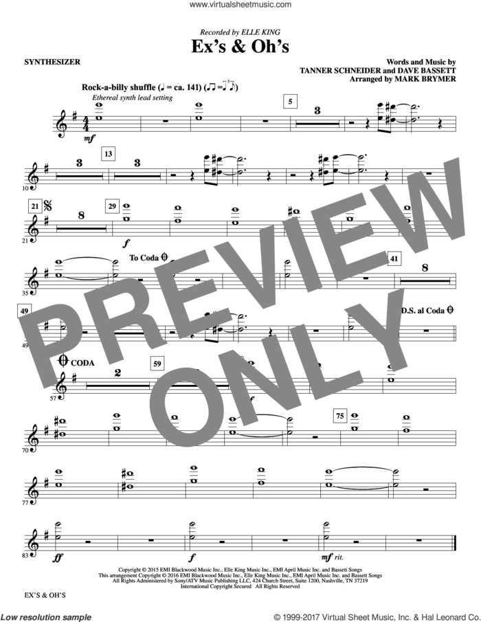 Ex's and Oh's (complete set of parts) sheet music for orchestra/band by Mark Brymer, Dave Bassett, Elle King and Tanner Schneider, intermediate skill level