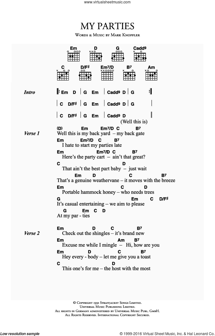My Parties sheet music for guitar (chords) by Dire Straits and Mark Knopfler, intermediate skill level
