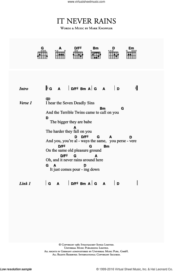 It Never Rains sheet music for guitar (chords) by Dire Straits and Mark Knopfler, intermediate skill level