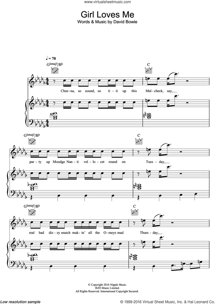 Girl Loves Me sheet music for voice, piano or guitar by David Bowie, intermediate skill level