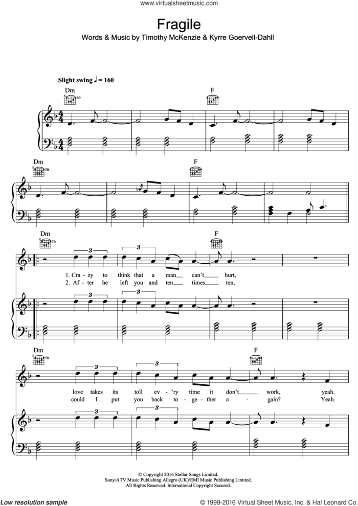 Fragile (featuring Labrinth) sheet music for voice, piano or guitar by Kygo, Labrinth, Kyrre Goervell-Dahll and Timothy McKenzie, intermediate skill level