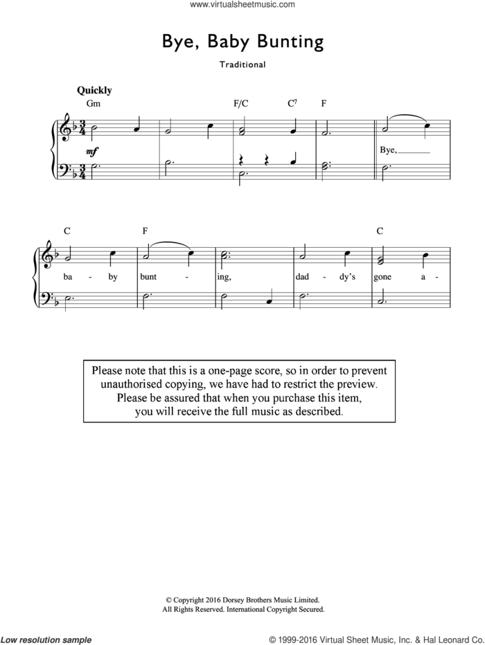 Bye, Baby Bunting sheet music for voice and piano by Traditional Nursery Rhyme and Miscellaneous, intermediate skill level