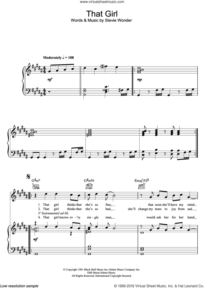 That Girl sheet music for voice, piano or guitar by Stevie Wonder, intermediate skill level