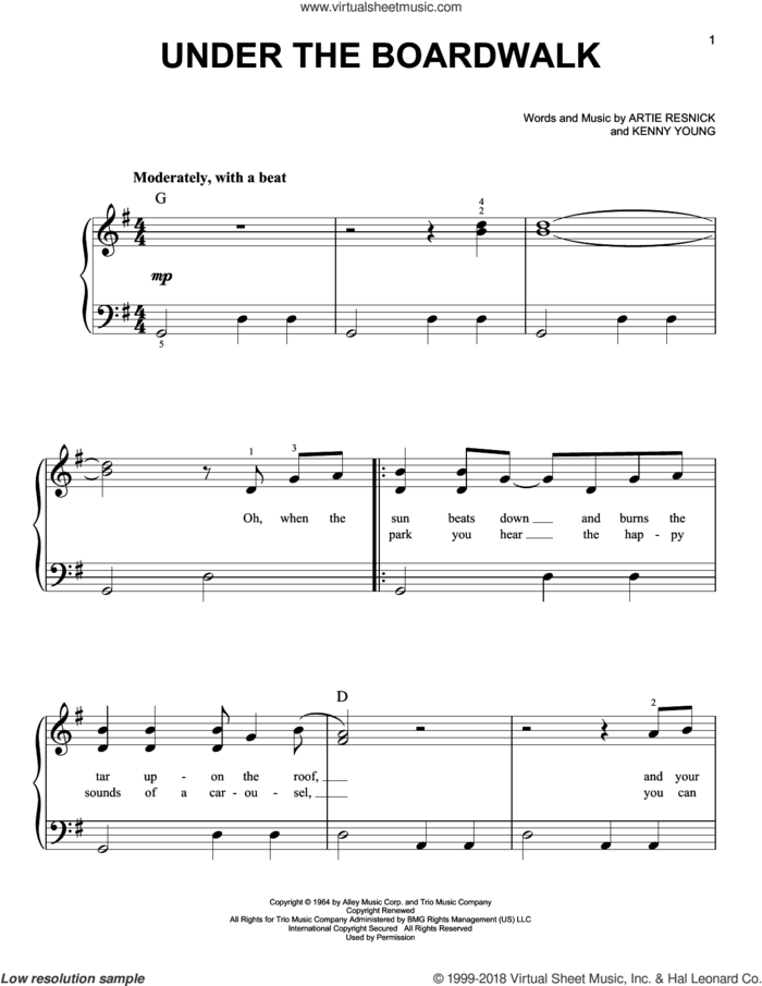 Under The Boardwalk, (beginner) sheet music for piano solo by The Drifters, Bette Midler, Artie Resnick and Kenny Young, beginner skill level