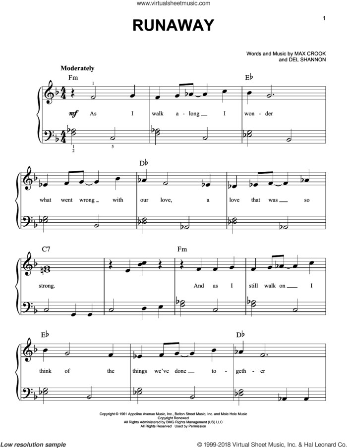 Runaway sheet music for piano solo by Del Shannon and Max Crook, beginner skill level