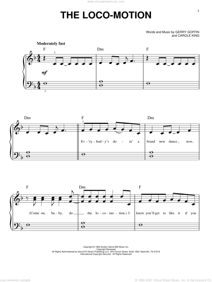 The Loco-Motion sheet music for piano solo by Little Eva, Grand Funk, Kylie Minogue, Carole King and Gerry Goffin, beginner skill level