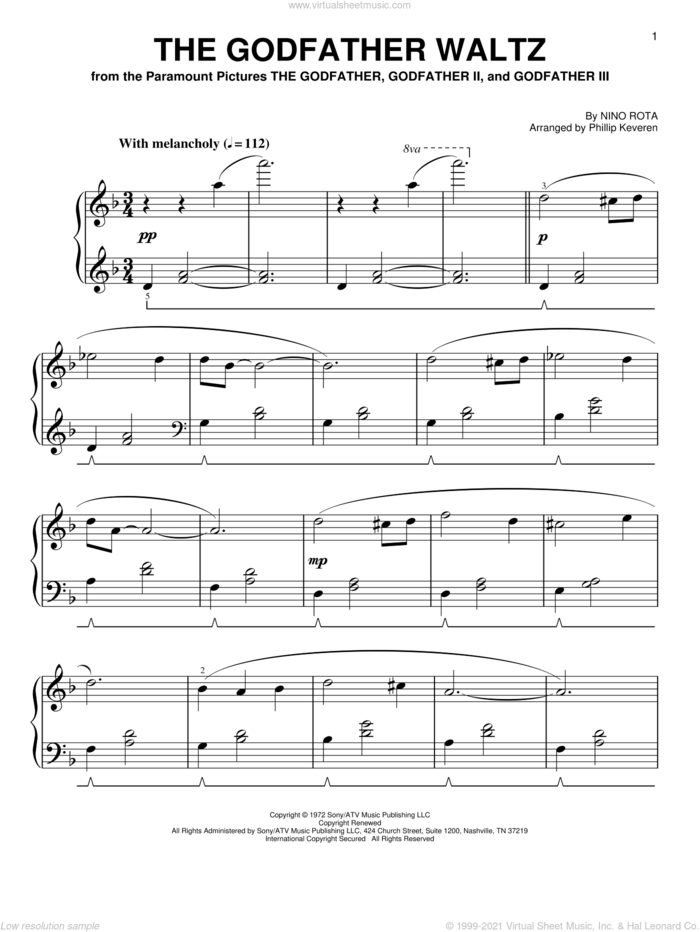 The Godfather Waltz [Classical version] (arr. Phillip Keveren) sheet music for piano solo by Nino Rota and Phillip Keveren, easy skill level