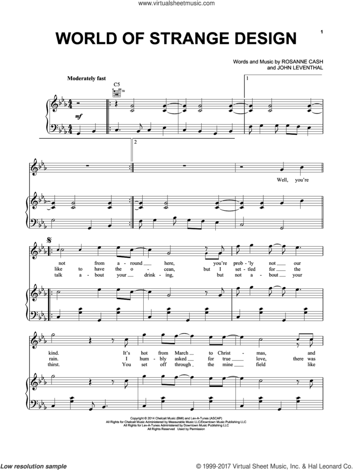 World Of Strange Design sheet music for voice, piano or guitar by Rosanne Cash and John Leventhal, intermediate skill level