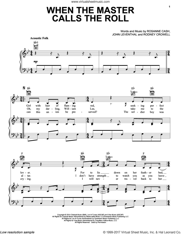When The Master Calls The Roll sheet music for voice, piano or guitar by Rosanne Cash, John Leventhal and Rodney Crowell, intermediate skill level