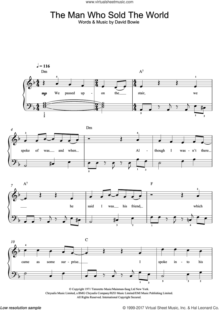 The Man Who Sold The World sheet music for voice, piano or guitar by David Bowie, intermediate skill level