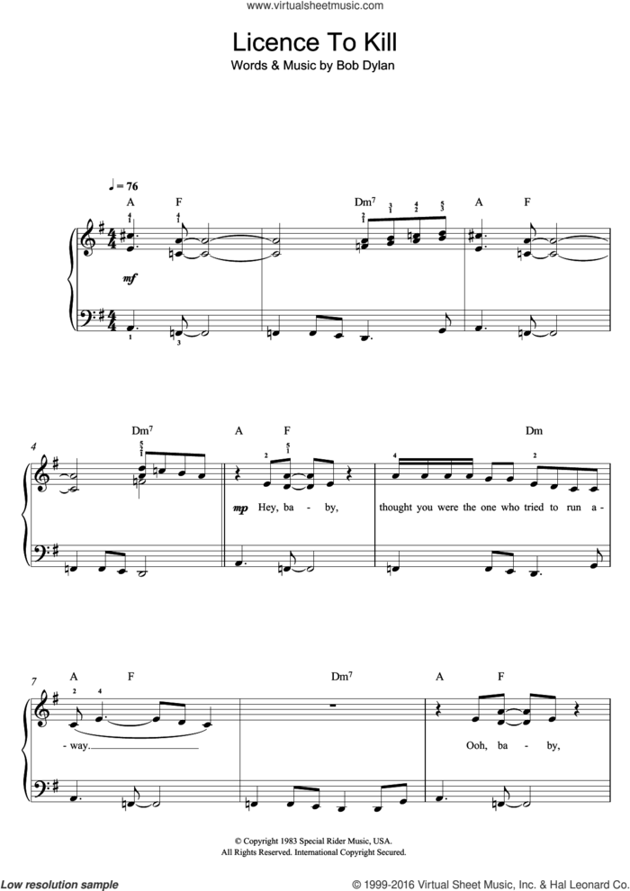 License To Kill sheet music for piano solo by Gladys Knight and Bob Dylan, easy skill level