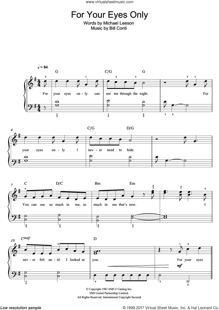 For Your Eyes Only sheet music for voice, piano or guitar by Sheena Easton, Bill Conti and Michael Leeson, intermediate skill level