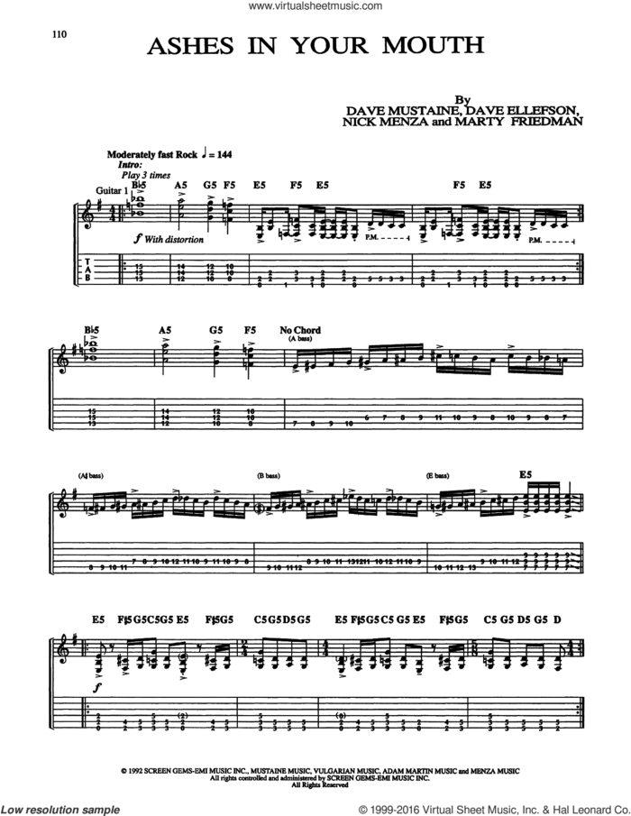 Ashes In Your Mouth sheet music for guitar (tablature) by Megadeth, Dave Ellefson, Dave Mustaine, Marty Friedman and Nick Menza, intermediate skill level
