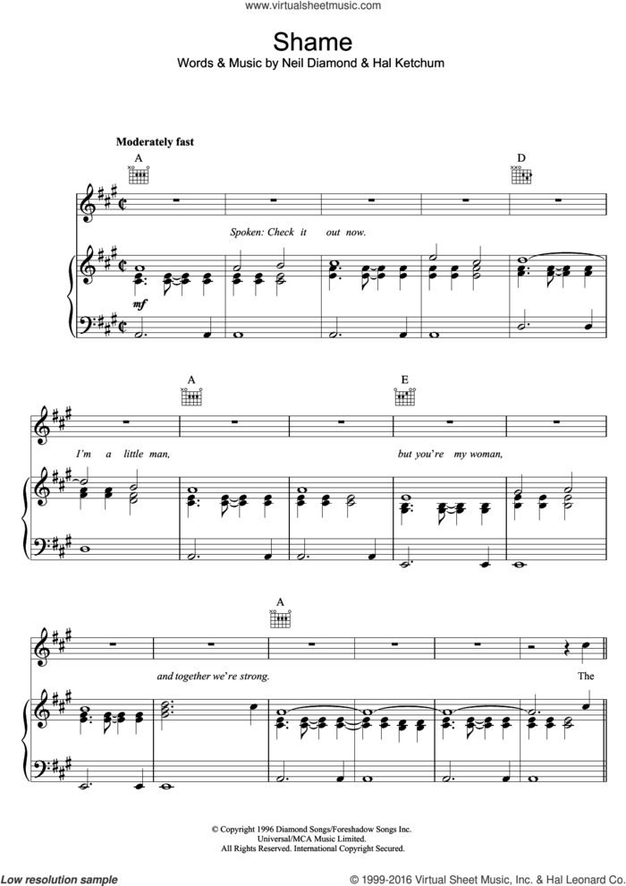 Shame sheet music for voice, piano or guitar by Neil Diamond and Hal Ketchum, intermediate skill level