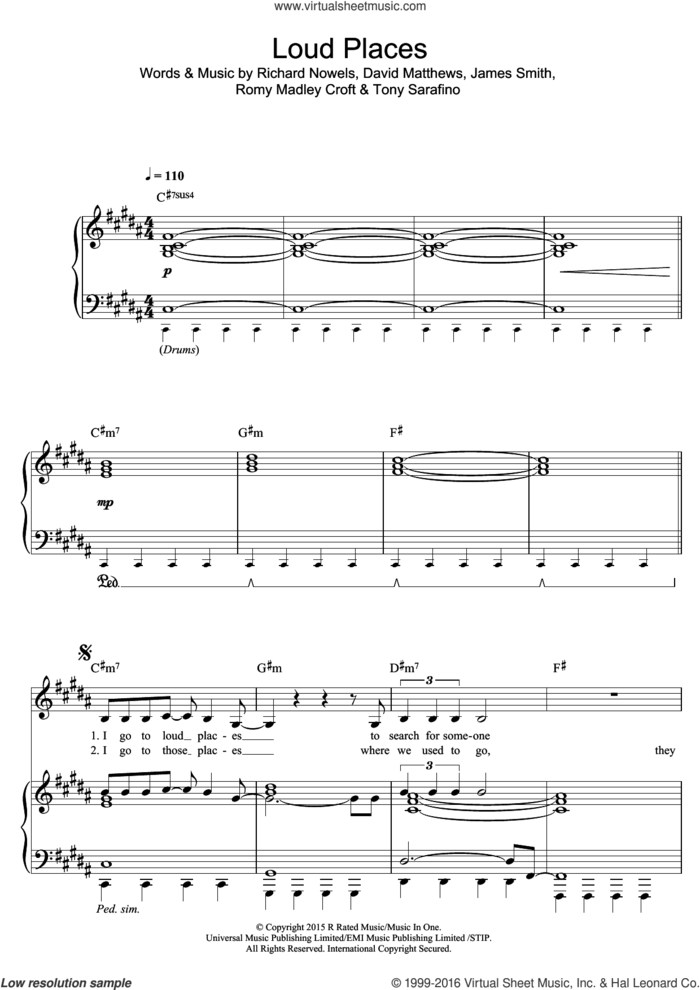 Loud Places sheet music for voice, piano or guitar by Jamie xx, David Matthews, James Smith, Rick Nowels, Romy Madley Croft and Tony Sarafino, intermediate skill level