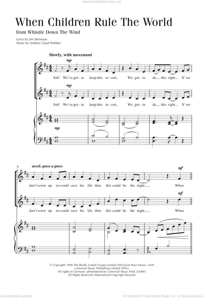 When Children Rule The World sheet music for choir by Andrew Lloyd Webber and Jim Steinman, intermediate skill level