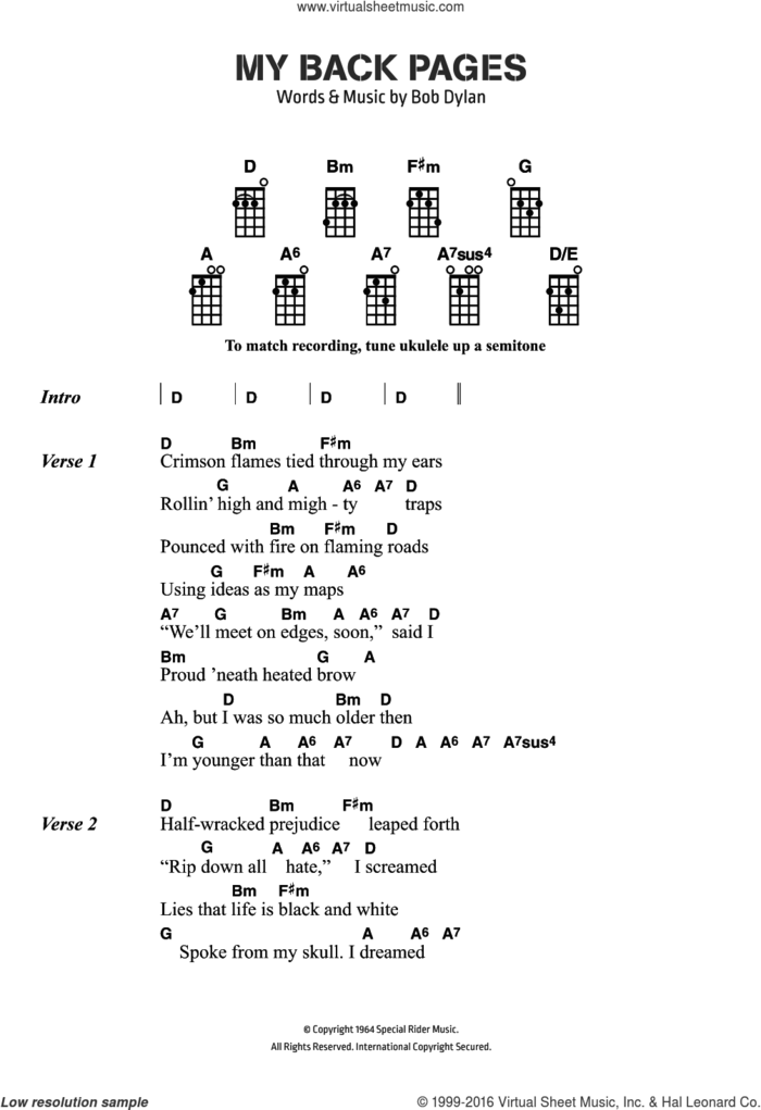 My Back Pages sheet music for voice, piano or guitar by Bob Dylan and The Byrds, intermediate skill level