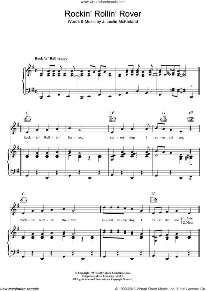 Rockin' Rollin' Rover sheet music for voice, piano or guitar by Bill Haley & His Comets and J. Leslie McFarland, intermediate skill level