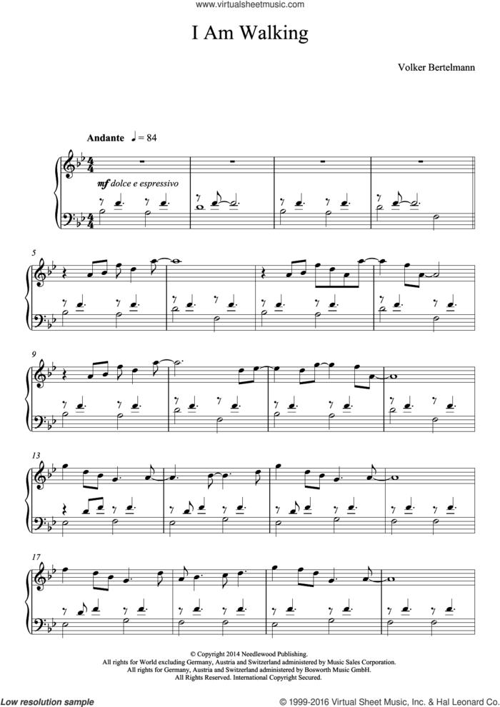 I Am Walking sheet music for piano solo by Hauschka and Volker Bertelmann, classical score, intermediate skill level