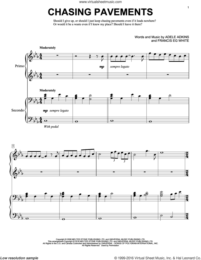 Chasing Pavements sheet music for piano four hands by Adele, Eric Baumgartner, Adele Adkins and Francis White, intermediate skill level