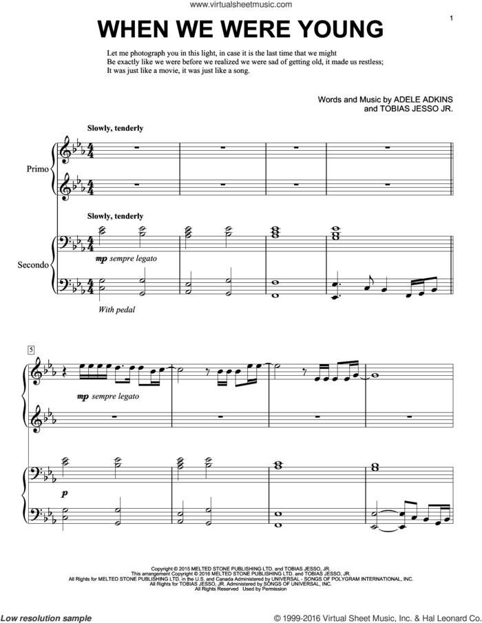 When We Were Young sheet music for piano four hands by Adele, Eric Baumgartner, Adele Adkins and Tobias Jesso Jr., intermediate skill level