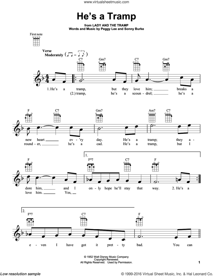 He's A Tramp (from Lady And The Tramp) sheet music for ukulele by Peggy Lee and Sonny Burke, intermediate skill level