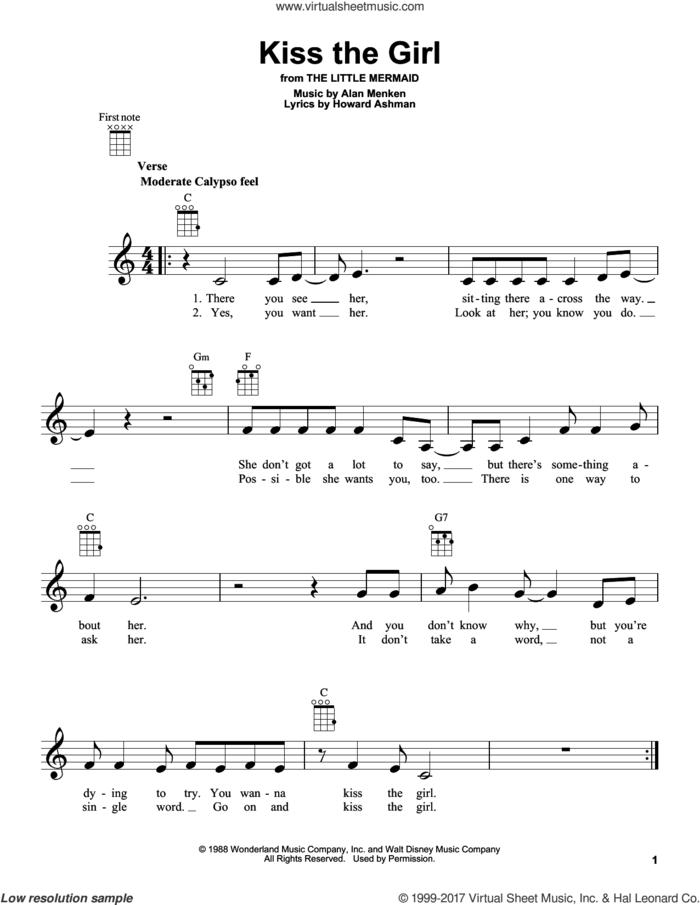 Kiss The Girl (from The Little Mermaid) sheet music for ukulele by Alan Menken, Little Texas and Howard Ashman, intermediate skill level