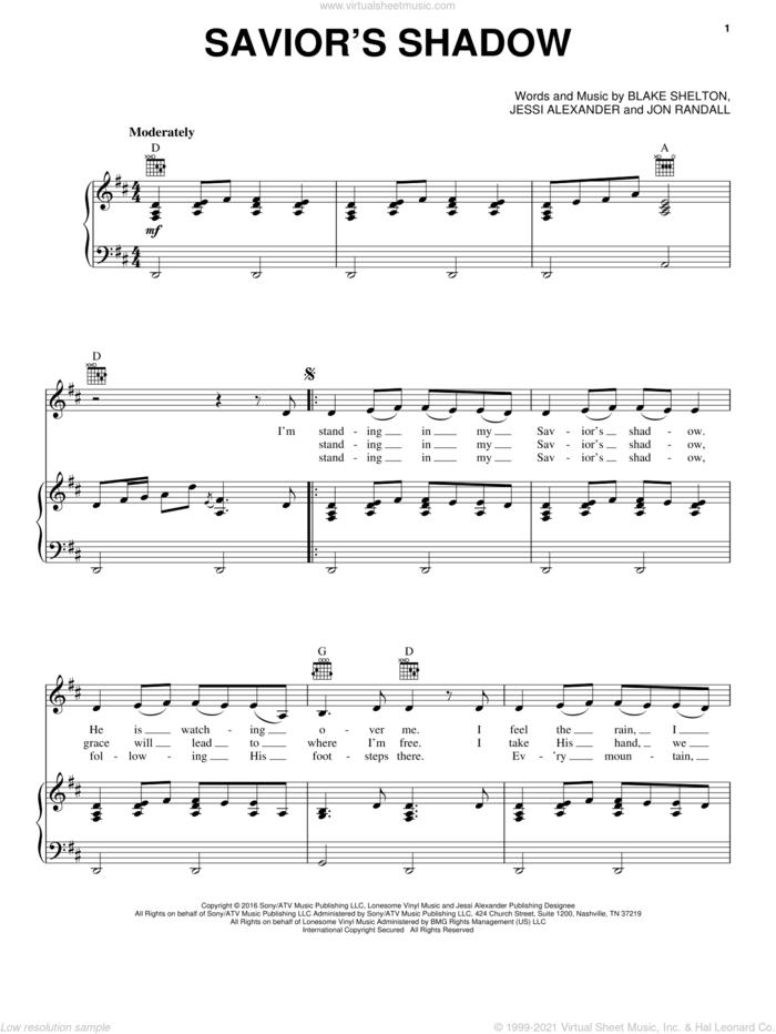 Savior's Shadow sheet music for voice, piano or guitar by Blake Shelton, Jessi Alexander and Jon Randall, intermediate skill level