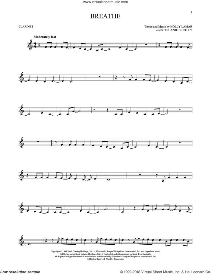 Breathe sheet music for clarinet solo by Faith Hill, Holly Lamar and Stephanie Bentley, intermediate skill level