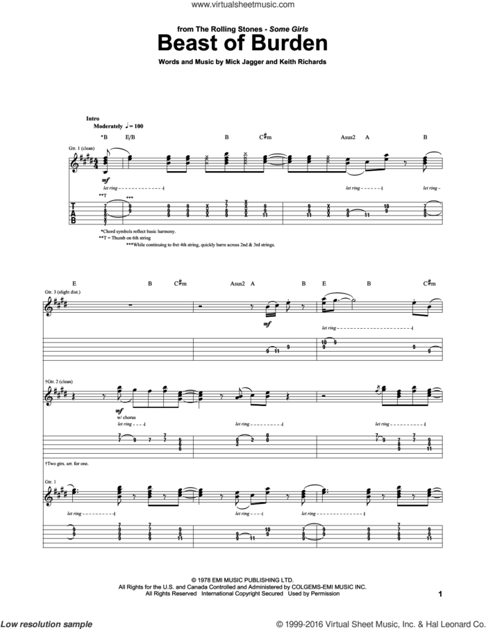 Beast Of Burden sheet music for guitar (tablature) by The Rolling Stones, Bette Midler, Keith Richards and Mick Jagger, intermediate skill level