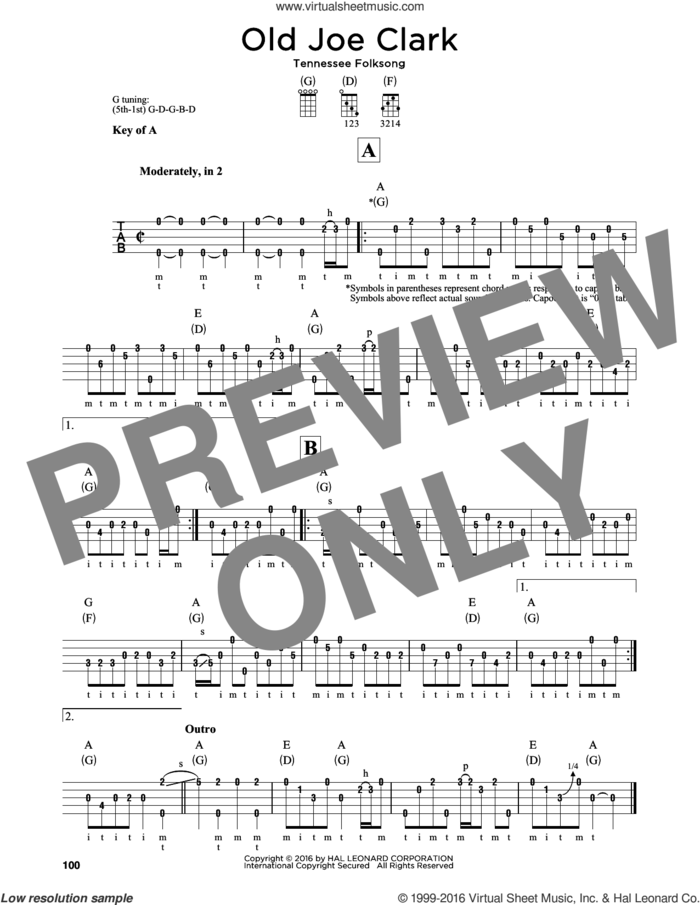Old Joe Clark sheet music for banjo solo, intermediate skill level