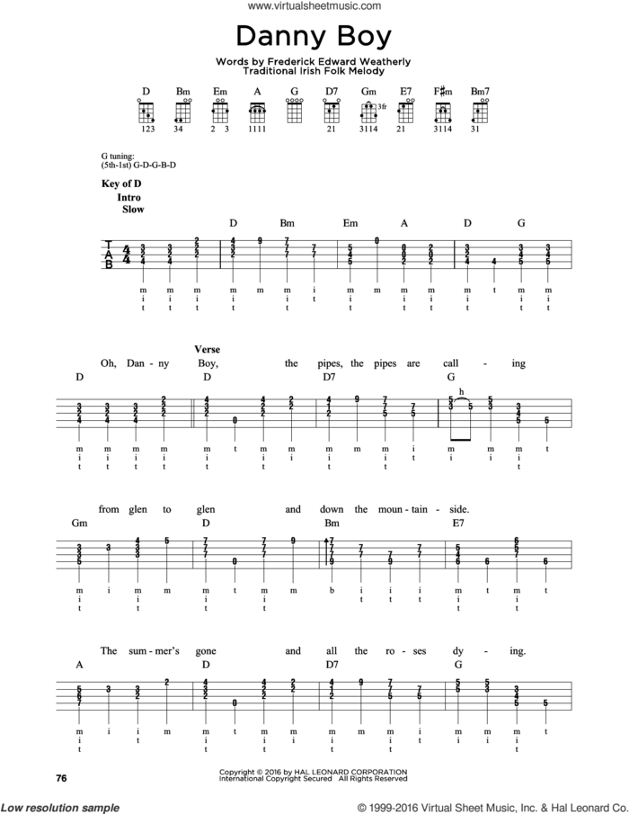 Danny Boy sheet music for banjo solo by Frederick Edward Weatherly and Traditional Irish, intermediate skill level