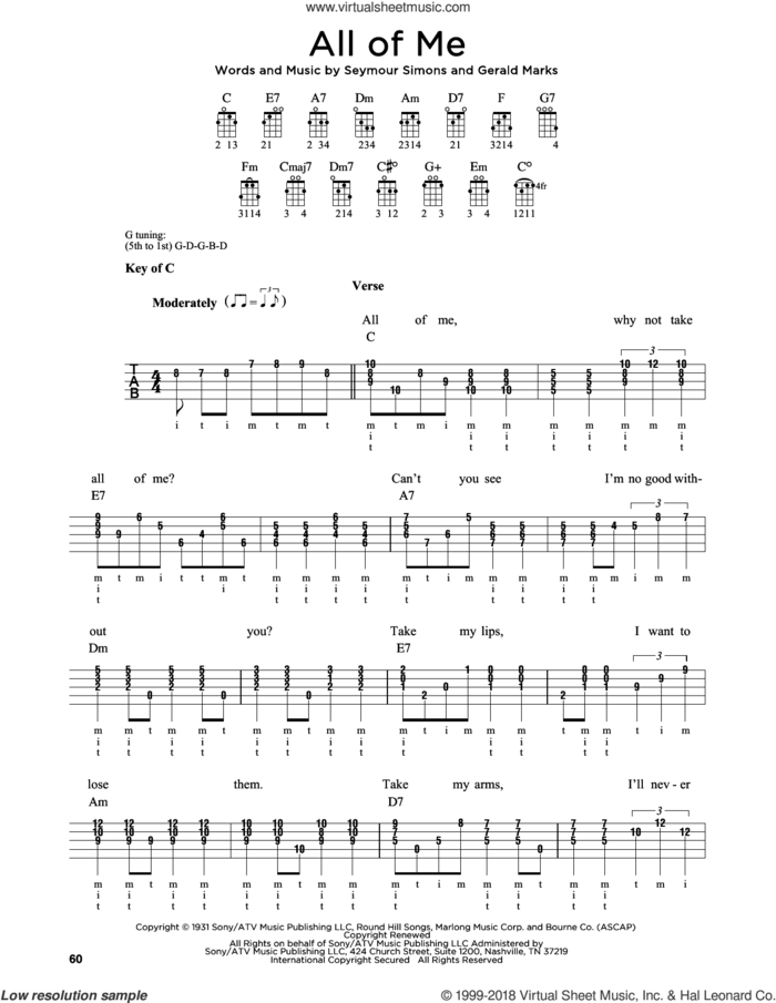 All Of Me sheet music for banjo solo by Seymour Simons and Gerald Marks, wedding score, intermediate skill level