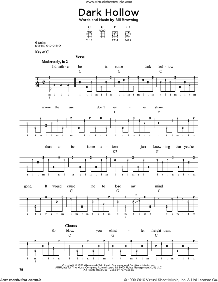 Dark Hollow sheet music for banjo solo by Grateful Dead and Bill Browning, intermediate skill level