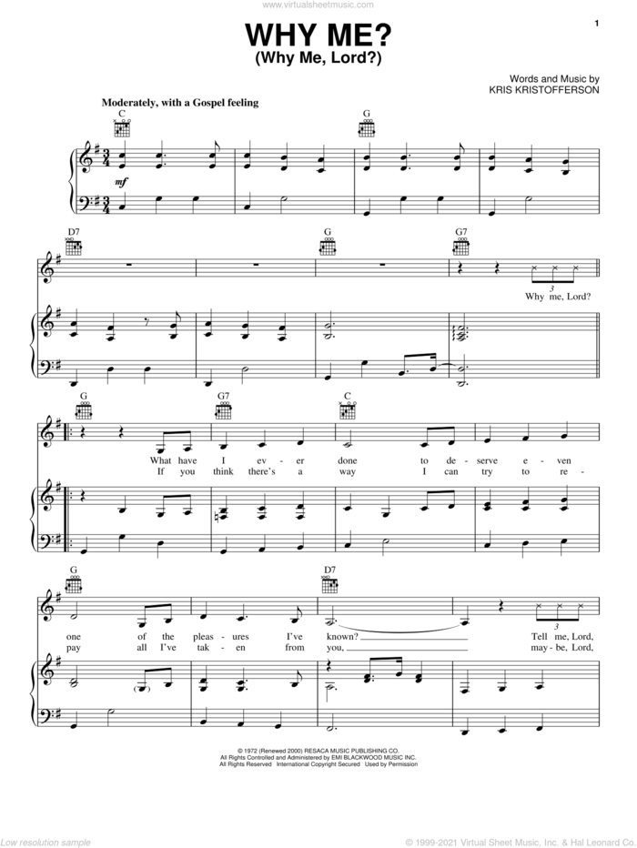Why Me? (Why Me, Lord?) sheet music for voice, piano or guitar by Kris Kristofferson, Cristy Lane and Johnny Cash, intermediate skill level