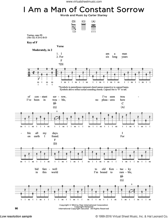 I Am A Man Of Constant Sorrow sheet music for banjo solo by Carter Stanley, Charm City Devils and The Soggy Bottom Boys, intermediate skill level