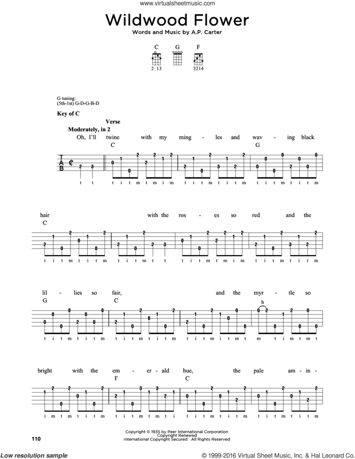 Wildwood Flower sheet music for banjo solo by The Carter Family and A.P. Carter, intermediate skill level