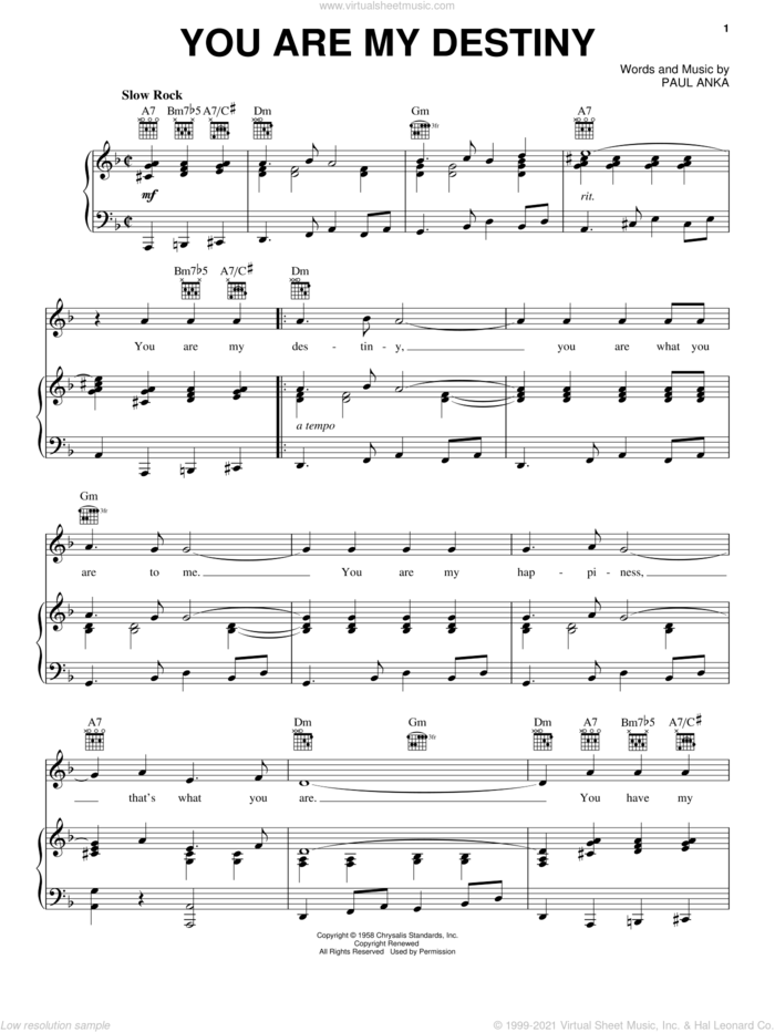 You Are My Destiny sheet music for voice, piano or guitar by Paul Anka, intermediate skill level