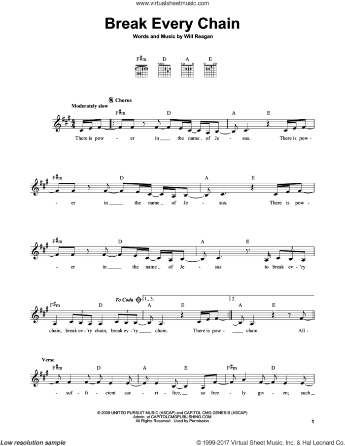 Break Every Chain sheet music for guitar solo (chords) by Will Reagan, easy guitar (chords)