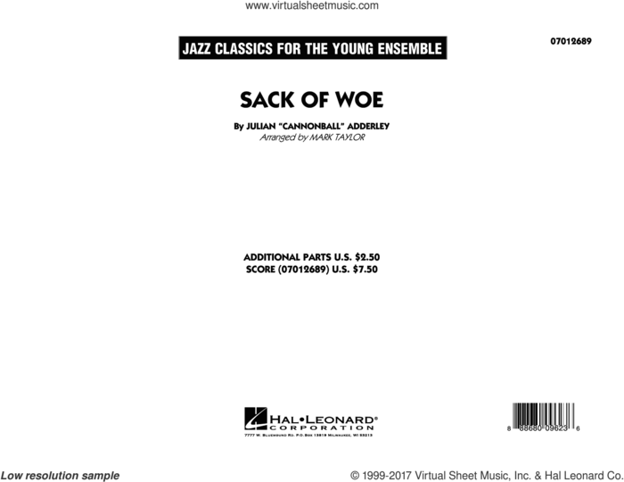 Sack of Woe (COMPLETE) sheet music for jazz band by Mark Taylor, George Benson and Julian Adderley, intermediate skill level