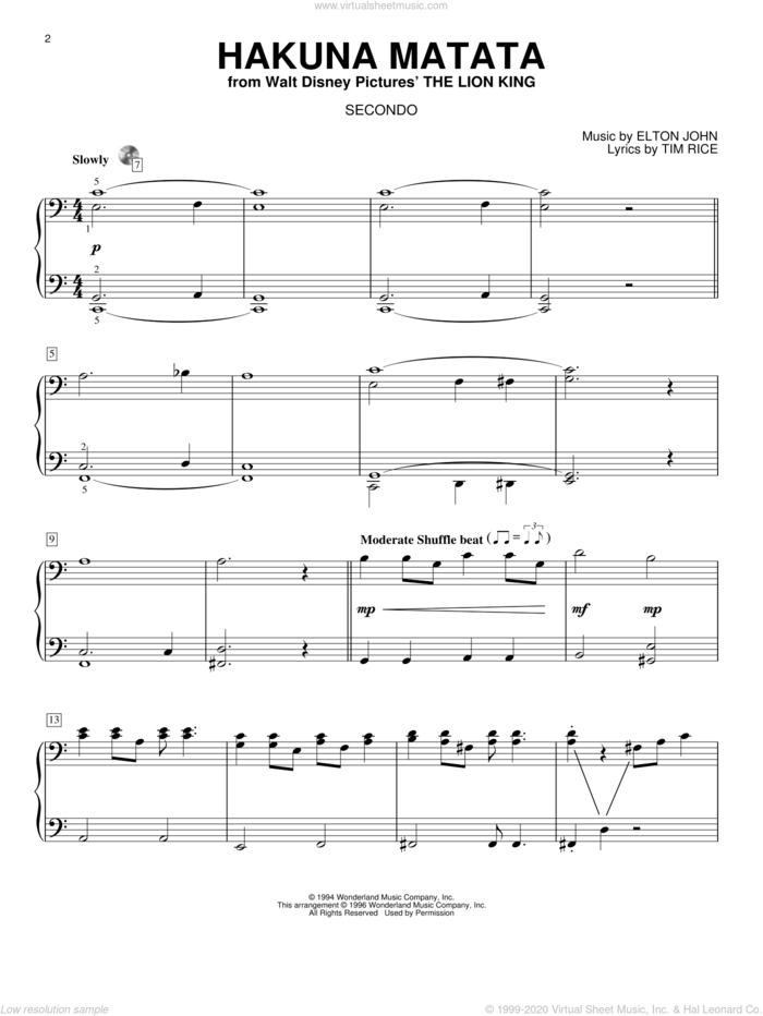 Hakuna Matata sheet music for piano four hands by Elton John, The Lion King and Tim Rice, intermediate skill level