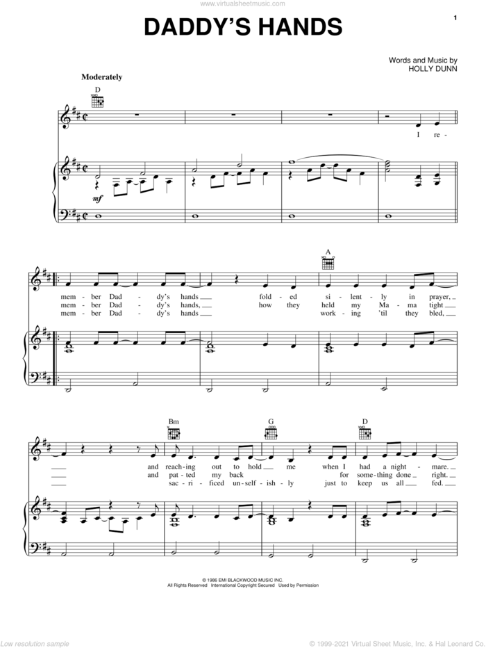 Daddy's Hands sheet music for voice, piano or guitar by Holly Dunn, intermediate skill level