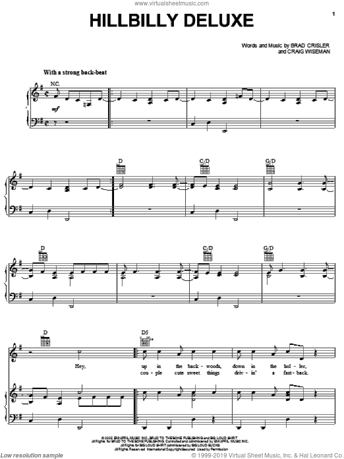 Hillbilly Deluxe sheet music for voice, piano or guitar by Brooks & Dunn, Brad Crisler and Craig Wiseman, intermediate skill level