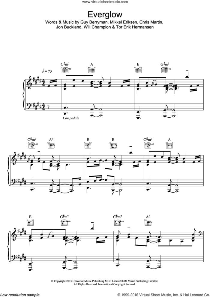 Everglow sheet music for voice, piano or guitar by Coldplay, Chris Martin, Guy Berryman, Jon Buckland, Mikkel Eriksen, Tor Erik Hermansen and Will Champion, intermediate skill level