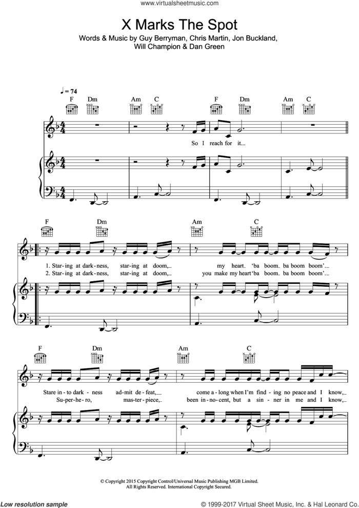 X Marks The Spot sheet music for voice, piano or guitar by Coldplay, Chris Martin, Dan Green, Guy Berryman, Jon Buckland and Will Champion, intermediate skill level