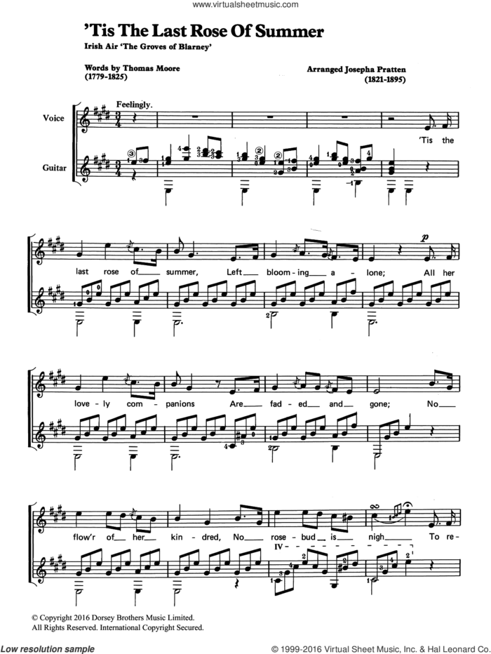'Tis The Last Rose Of Summer sheet music for voice, piano or guitar , Josepha Pratten and Thomas Moore, classical score, intermediate skill level